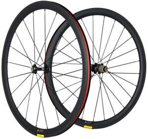 700C 38mm Clincher Carbon Wheelset Novatec 271 Hub Bicycle Carbon Wheels UD/3K