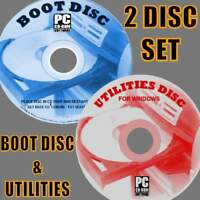 BOOT DISK EASY REPAIR/RESCUE/DIAGNOSE FIX All WINDOWS SYSTEMS PC/LAPTOPS 2 CD's