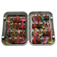 32pcs Dry Fly Hooks Trout Fishing Lure Bait Flies Fish Tackle Assortment w/ Case