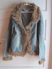 Miss Teen Girls Faux Fur Trim Open Front Hook & Loop Denim Blue Jean Jacket 16