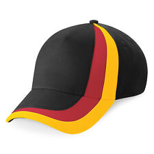 Casquette SPORT marque Beechfield football ALLEMAGNE / BELGIQUE noir rouge jaune