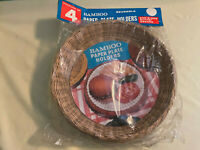 Vintage Wicker Paper Plate Holders Lot of 4 Rattan Picnic BBQ Camping Plate NIP