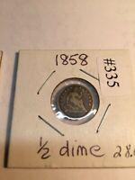 1854-o and1858-p Half  dime no reserve