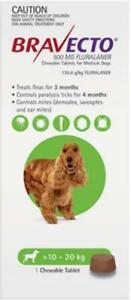 Bravecto Flea, Tick & Mite Treatment for Medium Dogs (Green) Chews