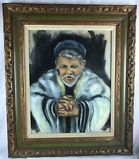 Prayerful Jewish Rabbi  Mid-Century (1960-1970) Original Painting by Aaron Leib