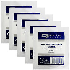 25 x First Aid Qualicare None Woven Sterile 4PLY Blood Gauze Swabs 10cm x 10cm