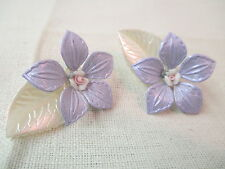 Vintage plastic Clip on Earrings purple & cream Flowers