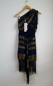 Alice McCall For Her Asymmetric Midi Dress Size AU 6 RRP $490 - Ink & Gold