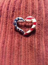 Pin Flag Colors Patriotic American Avon Stars & Stripes Enamel Heart