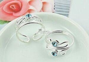 Solid 925 Sterling Silver Blue Crystals Toe Rings