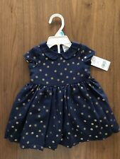 Carters 6 Months Baby Girl Dress $40 Nwt Navy Blue Gold Polka Dot Formal