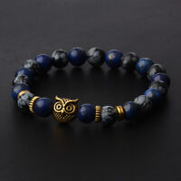2017 New 8MM Spot Natural Lava Stone Gold Silver Owl Beaded Mens Charm Bracelets