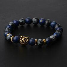 2020 New 8MM Spot Natural Lava Stone Gold Silver Owl Beaded Mens Charm Bracelets