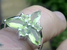 Silver Ring with 1.95ctw Peridots size 6