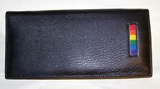 Gay Pride Leather Checkbook Wallet  Zippered Pocket, Coin Pocket Rainbow Bar