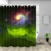 D Alien Planet Shower Curtain,Waterproof Drapes Accessories with 12PCS Hooks
