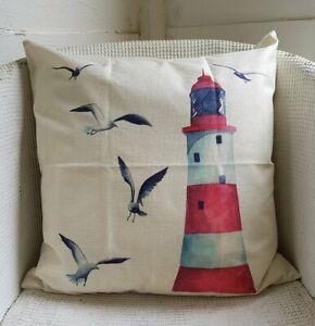 "Linen Cushion Cover Beach Hut Seaside Lighthouse Seagull Sailing Boat 18"" 45cm"