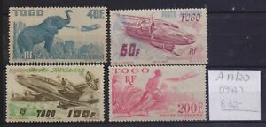 ! Togo 1947. Air Mail Stamp. YT#A17/20. €32.00!