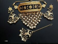 Indian Kundan Gold tone Bollywood Choker Style Necklace Earring Jewelry Set