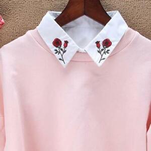 Ladies False Collar Fake Half Shirt Blouse Flower Lace Detachable Collar Bib KS