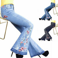 Womens Embroidery Skinny Mid Rise Flare Denim Jeans Stretch Denim Bell Bottom