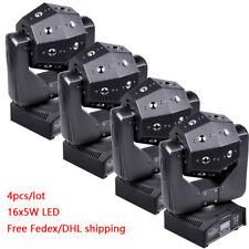 4-Pack 16x5w RGBW LED Moving Head Lights Disco DJ Party Stage Event Lighting