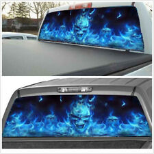 Blue Flaming Skull Rear Window Tint Graphic Decal Wrap Back Truck Tailgate Car