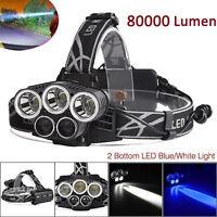 80000LM 5x XM-L T6 LED 5Head Rechargeable 18650 USB POWER Headlamp Head Light