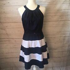 ELIZA J. Stripe Fit and Flare Sleeveless Dress Size 6 NAVY WHITE NAUTICAL