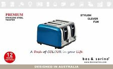 BLUE Colour 4 Slice Full Stainless Steel Bread Toaster Thick Slot Cord Storage