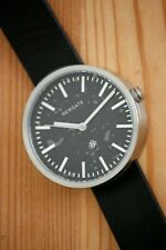 NEW Ladies Newgate Silver Drummer Watch - Black Leather Strap 40mm Dial Gift