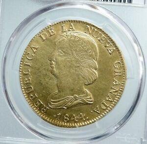 1844 UM COLOMBIA Liberty & Eagle Shield ANTIQUE Silver 16 Pesos PCGS Coin i89056