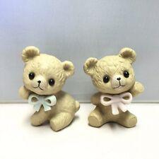 Two Vintage Ceramic Bear Figurines Flip & Ann Light Brown Tan Teddy Bears Mexico