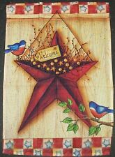 Rustic Barn Star Bluebird Patriotic Welcome 4th of July 12 x 18 Garden Flag New