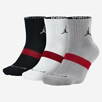 Jordan Jumpman 3-Pack Quarter Socks Black White Grey Red Nike NWT SX5242-010