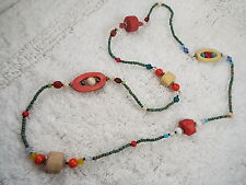 Red White Blue Glass & Wood Bead  Necklace (D34)