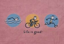 Life Is Good Triathlon T-shirt Men's Sz L Swim Bicycle Run Jake Graphic Tee A19