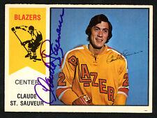 Claude St. Sauveur Autographed 1974-75 WHA OPC Card Vancouver Blazers 151920