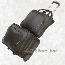 2pc Black Nylon Trolley Suitcase Carry On Overnight Business Laptop Computer Bag
