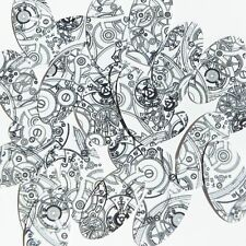"""Oval Sequin 1.5"""" Steampunk Clockworks on White Opaque Loose Couture Paillettes"""