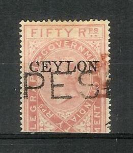 CEYLON   VICTORIA   50  RUPEES   REVENUE