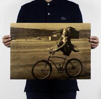 Retro bike classic film kraft paper poster painted core Bar decoration painting