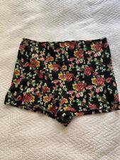 Forever 21 Black Floral Rose Shorts Size L