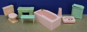 Renwal Doll House Furniture Complete Bathroom Set 12 Pcs Mint NOS 50s 1:16 Ideal