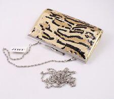DT63 Abendtasche Pailletten beige schwarz Tiger-Look Clutch Schultertasche neu