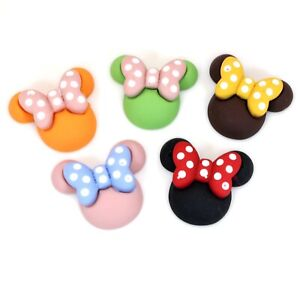 20pcs Mixed Color Flatback Resin Mouse With Bow Cabochons 27mm Scrapbooking DIY
