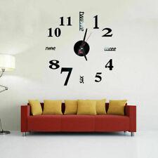 Wand Uhr Wohnzimmer Wanduhr Wandtattoo Aufkleber Deko XXL 3D-Design Neu Schwarz