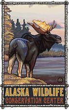 Northwest Art Mall Standing Moose Alaska Wildlife Artwork Poster Paul Lanquist