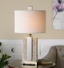 NEW ANTIQUED STONE IVORY TEXTURED FINISH BRUSHED NICKEL TABLE LAMP LINEN SHADE