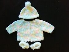 Hand Crocheted Girls Pastel Baby Sweater, Booties and Hat